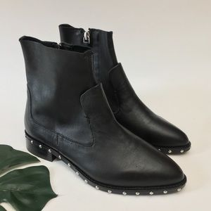 Topshop Black Studded Pointy Ankle Boots Booties